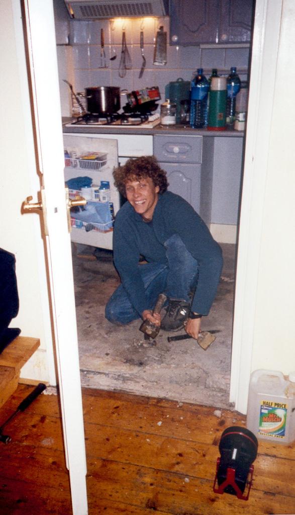 brett fixing kitchen floor dec 02